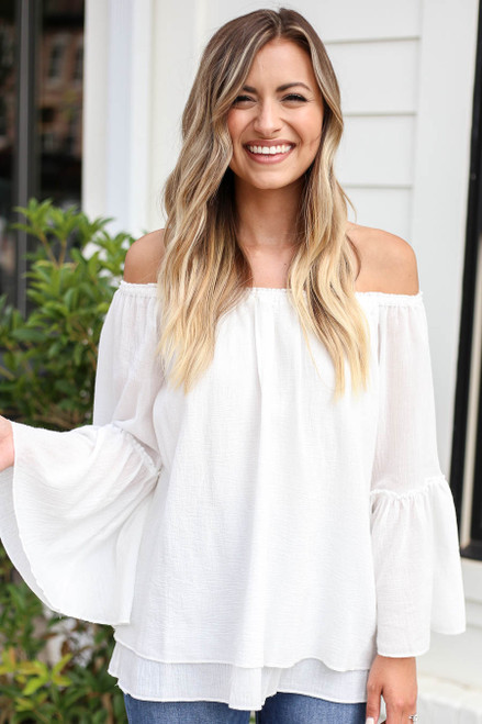 Model wearing White Off the Shoulder Bell Sleeve Top Front View