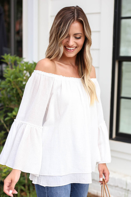 White - Off the Shoulder Bell Sleeve Top Side View