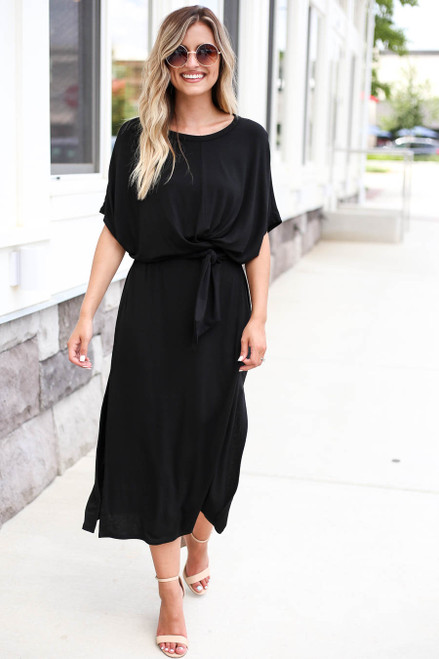 Black - Wrap Around Midi Dress