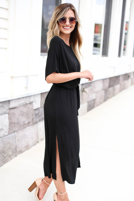 Black - Wrap Around Midi Dress Side View