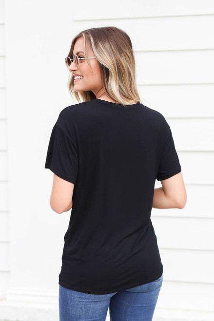 Model wearing Black Rose Print Graphic Tee Back View