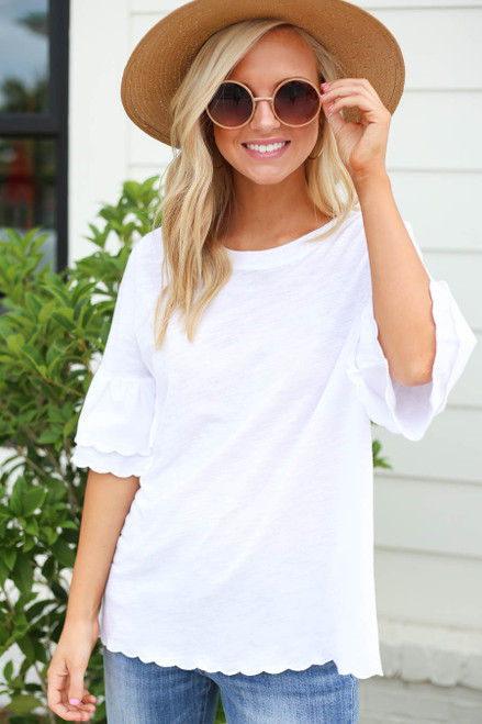 White - Scalloped Hem Tiered Sleeve Tee