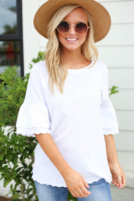 Model wearing White Scalloped Hem Tiered Sleeve Tee Front View