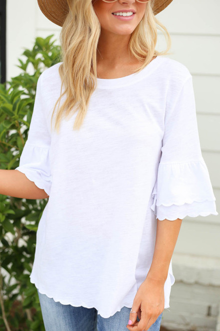 White - Scalloped Hem Tiered Sleeve Tee Detail View