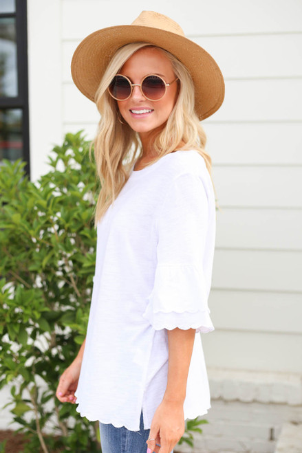 Model wearing White Scalloped Hem Tiered Sleeve Tee Side View