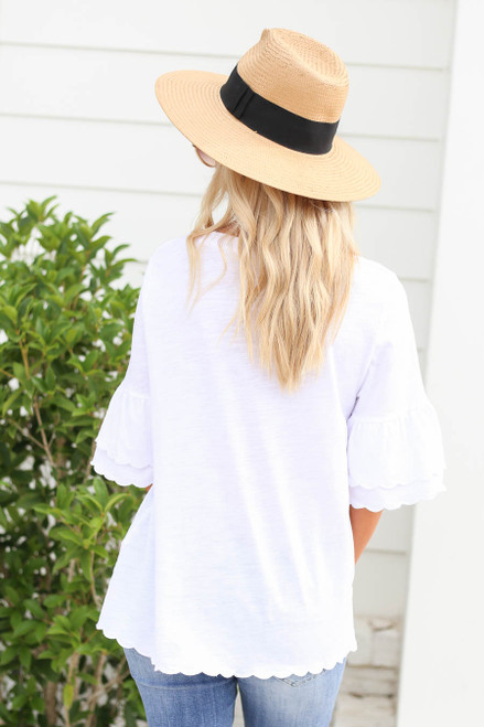 Model wearing White Scalloped Hem Tiered Sleeve Tee Back View