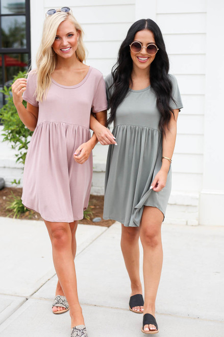 Mauve - and Olive Babydoll T-Shirt Dress