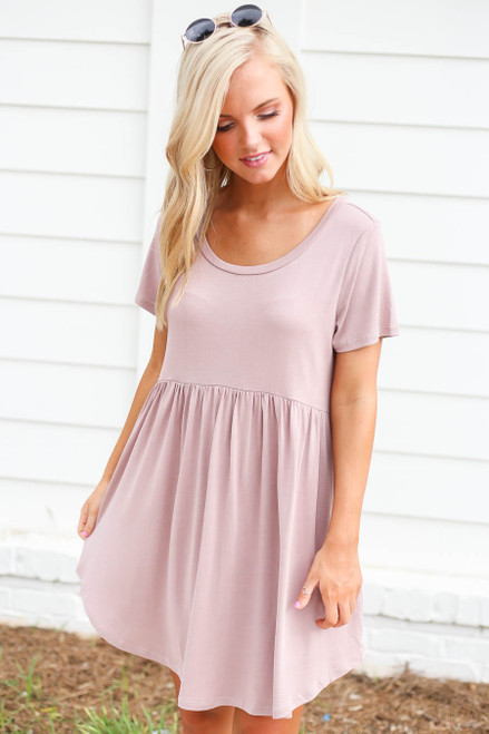 Mauve - Pocketed Babydoll T-Shirt Dress