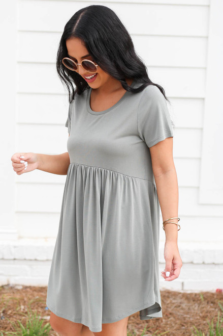 Mint - Pocketed Babydoll T-Shirt Dress Side View