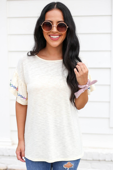 Ivory - Ruffle Embroidered Sleeve Top