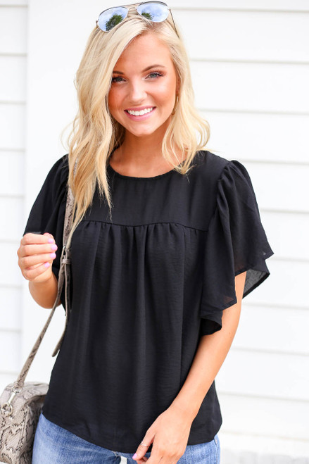 Black - Flutter Sleeve Chiffon Blouse