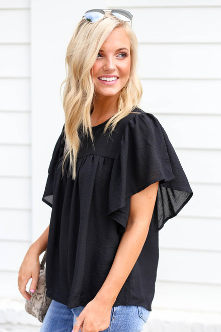 Black - Flutter Sleeve Chiffon Blouse Side View