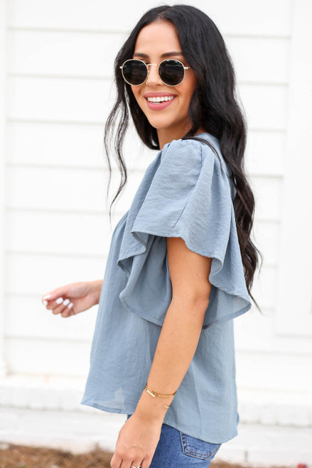 Teal - Flutter Sleeve Chiffon Blouse Side View