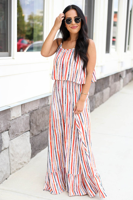 Model wearing Multi-Color Vertical Stripe Maxi Dress Front View