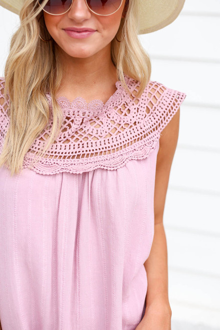 Pink - Crochet Neck Sleeveless Top Detail View