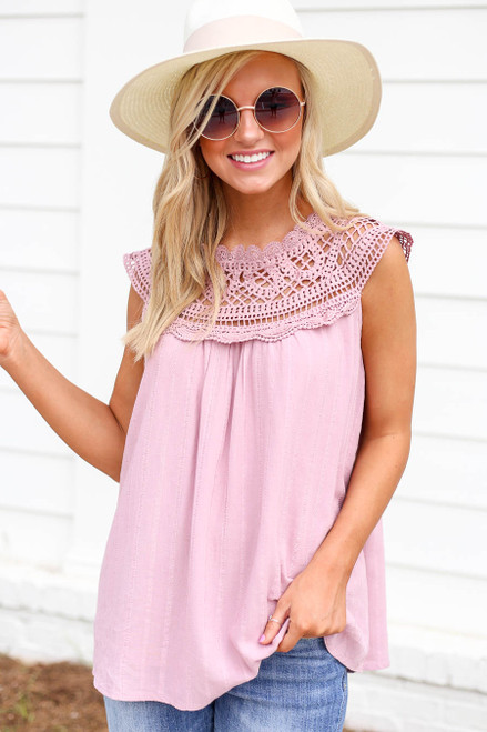 Pink - Crochet Neck Sleeveless Top
