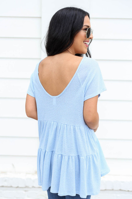 Blue - and White Striped Tiered Top Back View