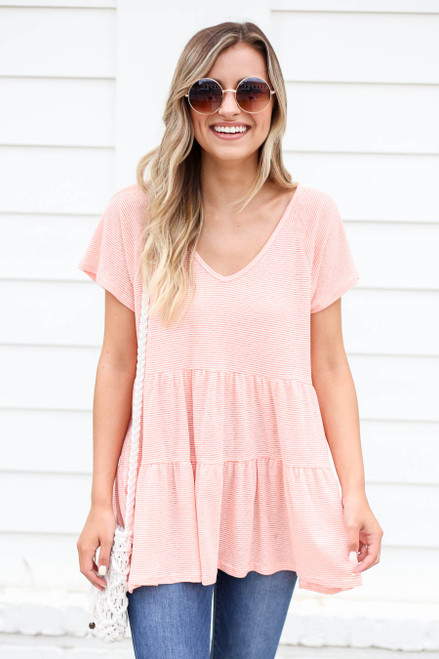 Coral - and White Striped Tiered Top