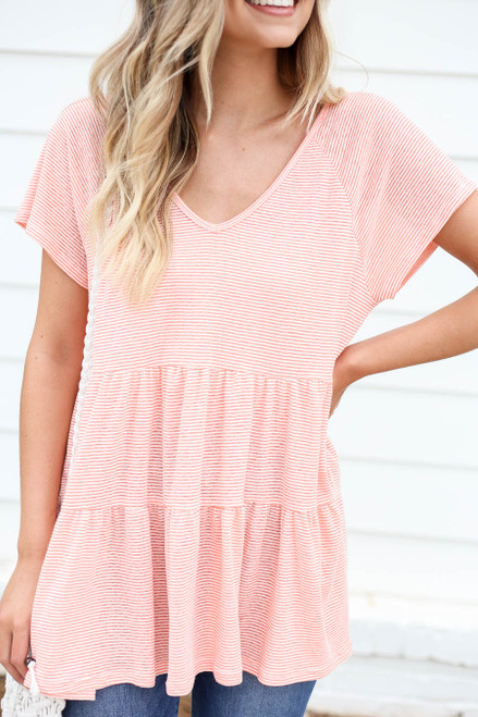 Coral - and White Striped Tiered Top Detail View