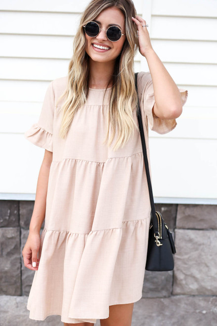 Taupe - Tiered Mini Dress