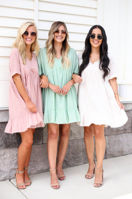 Ivory - Pink and Mint Ruffle Babydoll Mini Dress