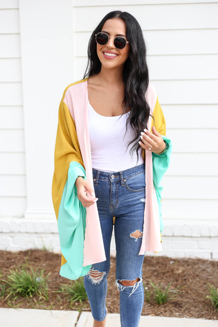 Mustard - Color Block Wide-Sleeve Kimono Front View