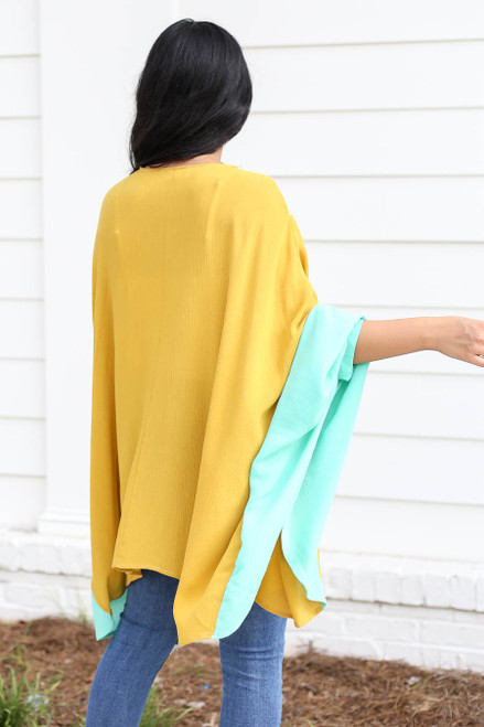 Model wearing Mustard, Mint, and Blush Color Block Wide-Sleeve Kimono Back View