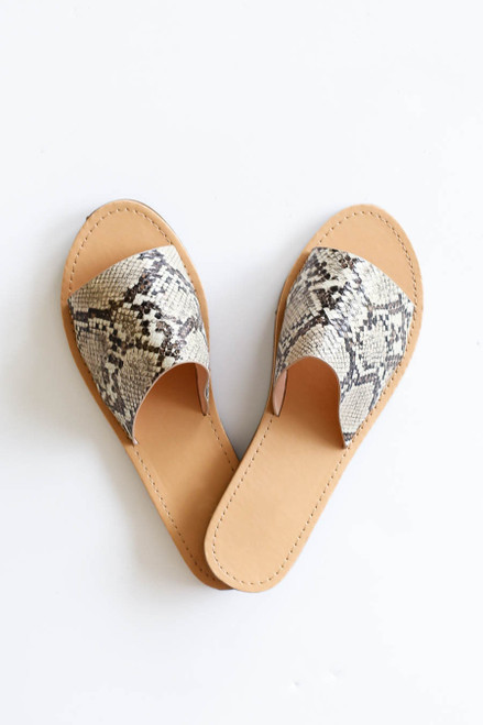 Snake - Snakeskin Thick Strap Slip on Sandals Flat Lay