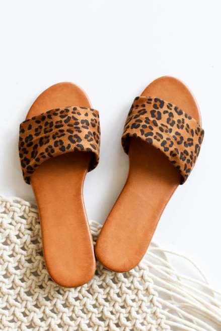 Leopard - Print Flat Slide On Sandals Flat Lay
