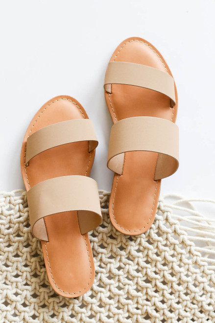 Taupe - Double Strap Flat Slide Sandals Flat Lay