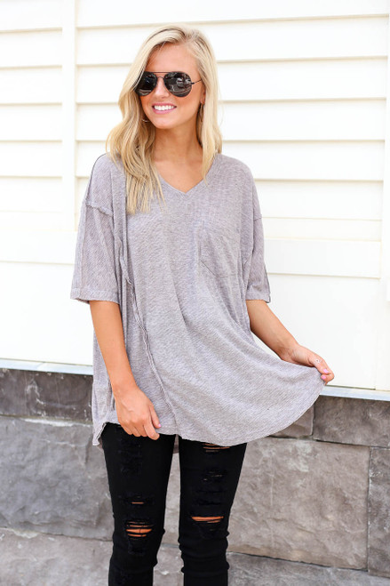 Grey - Oversized Ribbed Tee