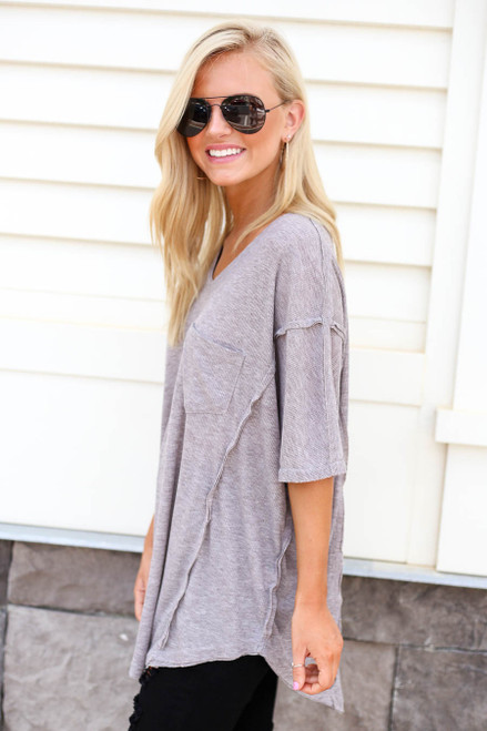 Grey - Oversized Ribbed Tee Side View