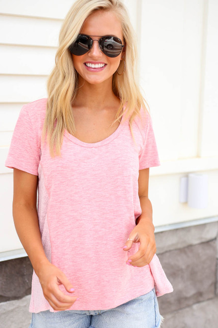 Blush - Ribbed Contrast Tee