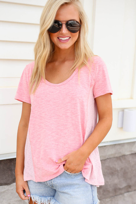 Model wearing Blush Ribbed Contrast Tee Front View