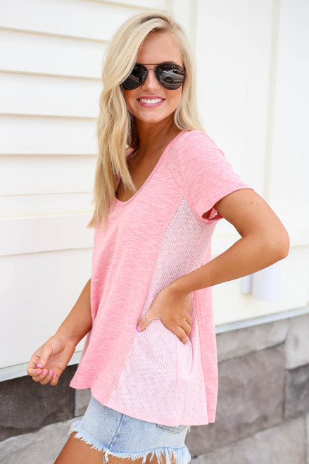 Blush - Ribbed Contrast Tee Side View