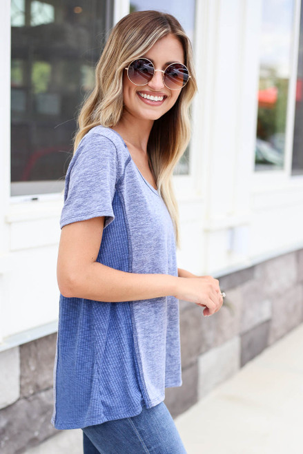 Blue - Ribbed Contrast Tee Side View