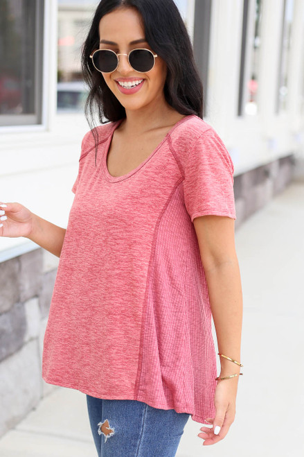 Marsala - Ribbed Contrast Tee Side View