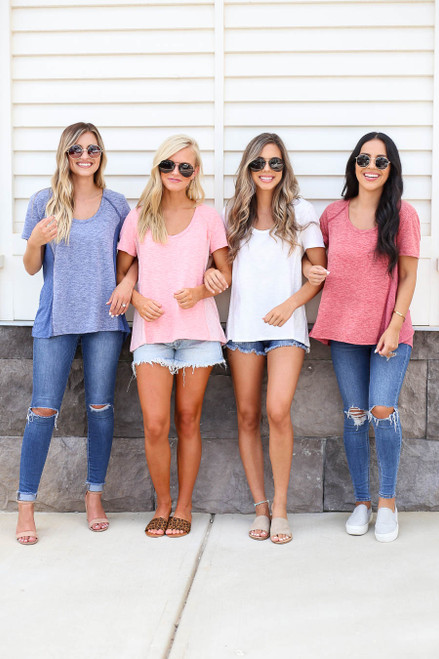 White - Blue, Marsala, and Blush Ribbed Contrast Tees
