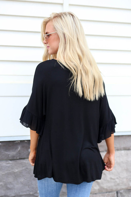 Black - Ruffle Sleeve Tee Back View
