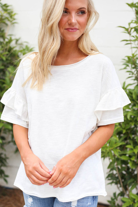 White - Model wearing White Ruffle Sleeve Top Front View