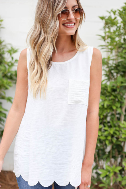 White - Scalloped Hem Tank Top