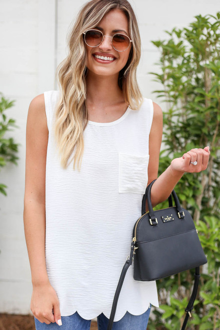 Model wearing White Scalloped Hem Tank Top Front View