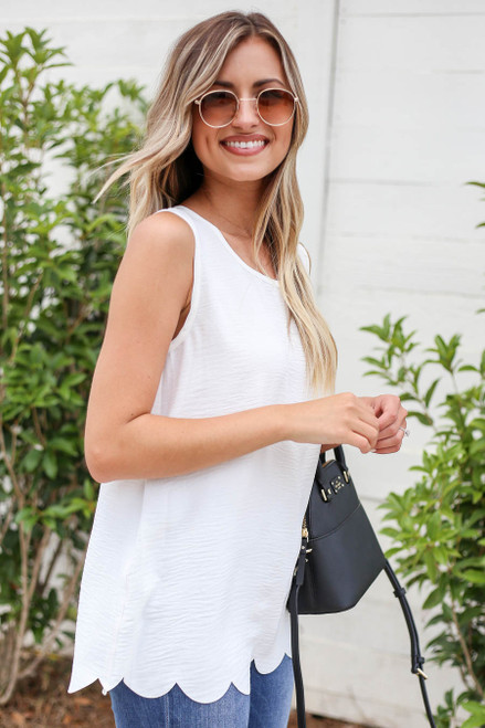 Model wearing White Scalloped Hem Tank Top Side View