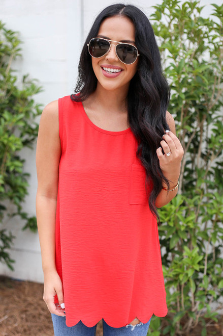 Red - Scalloped Hem Tank Top