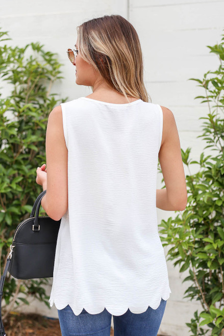 Model wearing White Scalloped Hem Tank Top Back View
