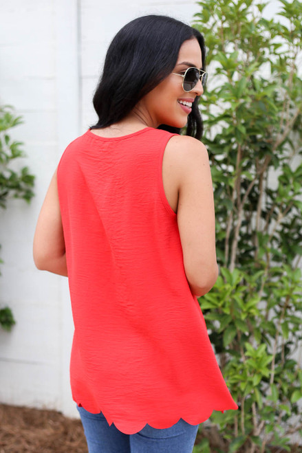 Model wearing Red Scalloped Hem Tank Top Back View