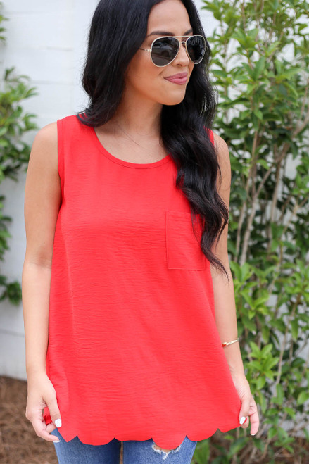 Model wearing Red Scalloped Hem Tank Top Front View