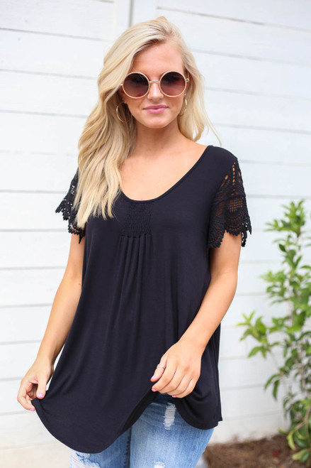 Black - Crochet Sleeve Top