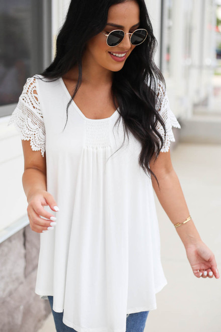 White - Crochet Sleeve Top