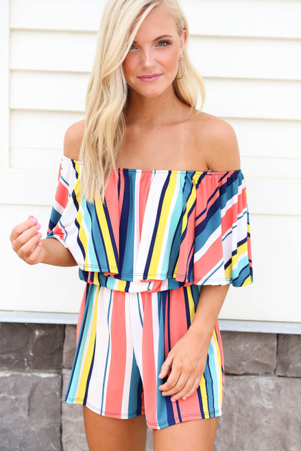 Multi - Model wearing Multi Color Striped Off the Shoulder Romper Front View